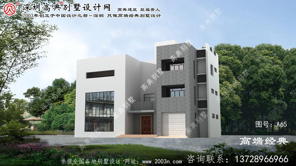 金湖县最新款现代别墅外观图设计图