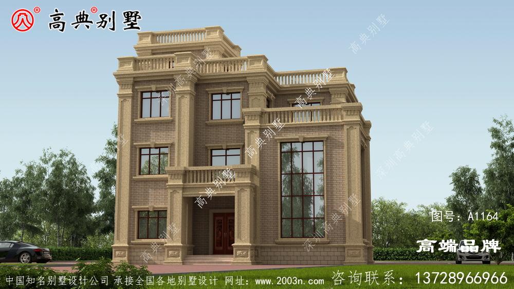 简欧设计别墅案例立面整体装饰少。