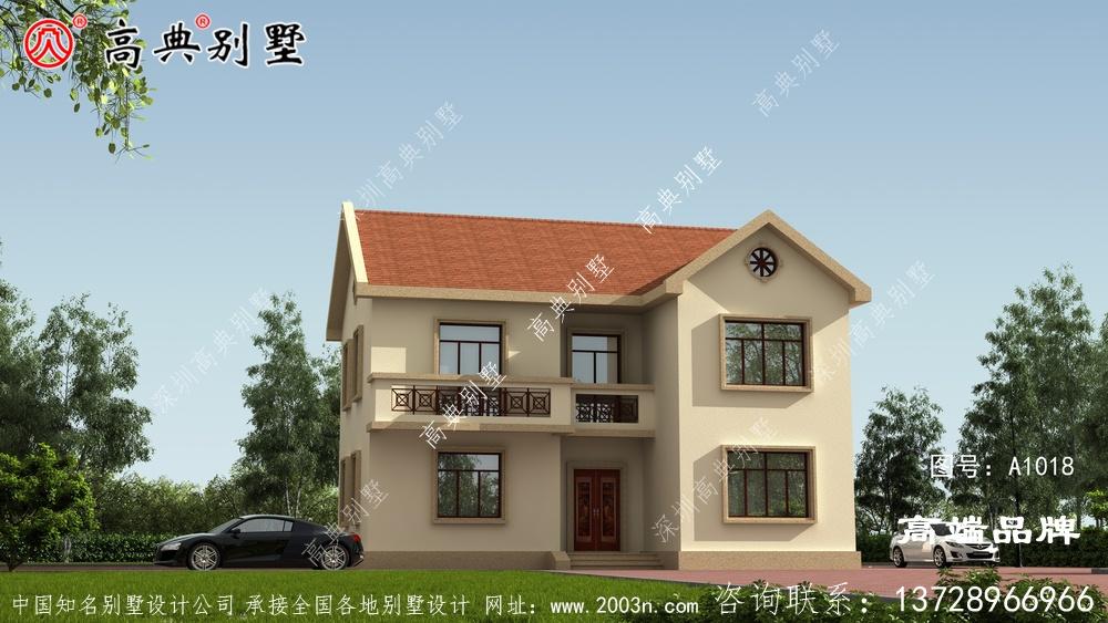 农村两层楼房造型优雅,适合农村