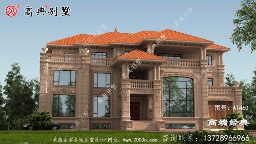 欧式石材三层别墅外观图,既美观