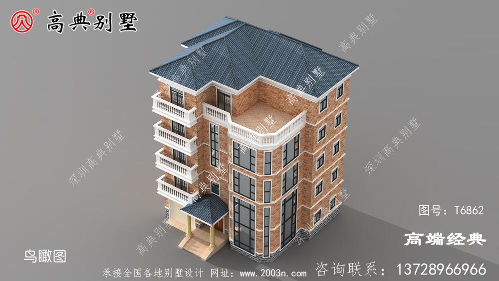 新郑市五层别墅设计图纸外观 采用 欧式风格 ,造型 非常 豪华 的带车库 的户