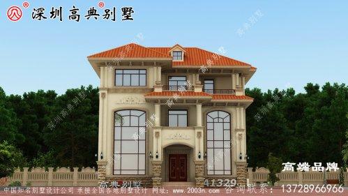 农村三层自建别墅设计图,露台,户型简约方正