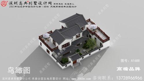农村三层四合院别墅设计图纸,自建房建这栋面