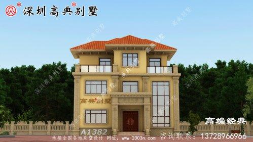 乡村简约普通三层楼的设计图,建