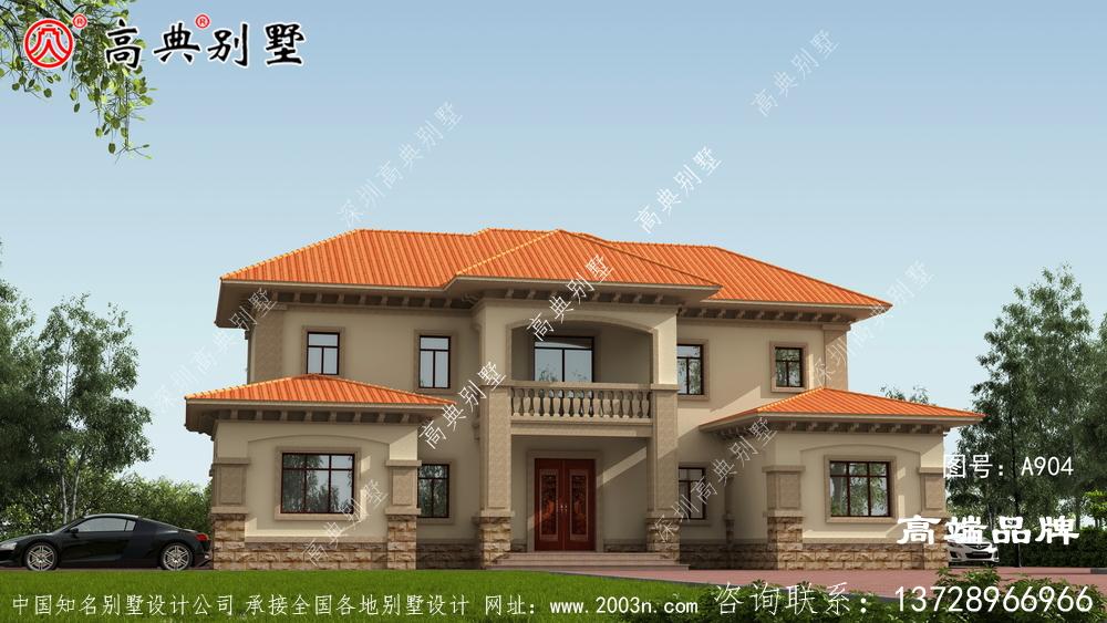 暖色外墙与橘色坡屋顶相结合产生体面感