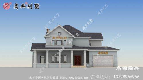 别墅外观的颜色搭配比较靓丽,两层户型一样典