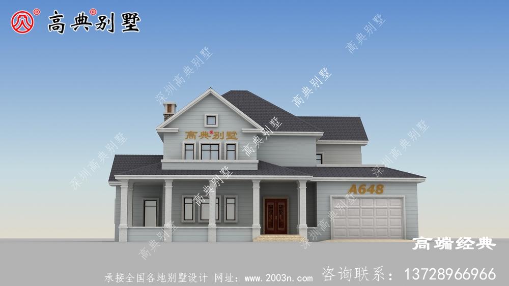 别墅外观的颜色搭配比较靓丽,两层户型一样典雅