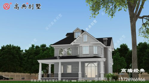 美式两层别墅外观图,送给父母住